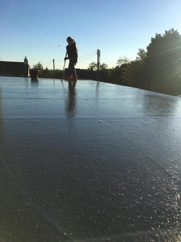 Image 8 - New fiberglass flat roof system all fitted, just painting it with the dark grey top coat sealer then it will be water tight for many many years. This type of fiberglass roof system is also guaranteed for (25) years for your peace of mind.