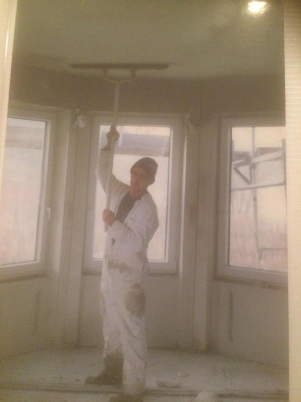 Image 66 - This photo was taken of me around 1994 somewhere in Germany along the banks of the Mosel river.New techniques and skills.Flattening the ceiling with large spatulas.