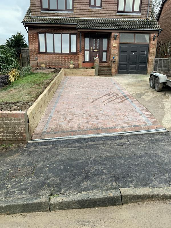 Image 11 - Extended Parking area with Sleepers and Block Paving.