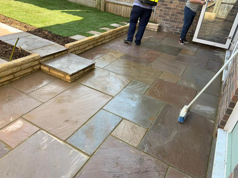 Image 11 - New Indian sandstone autum brown patio with Marshall lite retaining wall