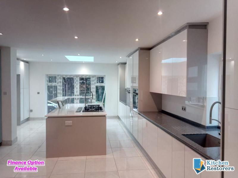 Image 20 - Modern Full Kitchen Fitted in an Extension, True Handle-less UnitsDoor Colour: Acrylic High Gloss White with High Gloss Light Grey Panels/PlinthsWorktop Colour: Solid Surface Worktops (Glacier Island and Zenith)