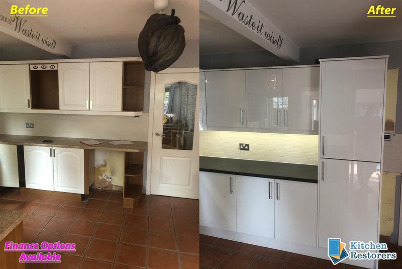 Image 11 - Kitchen Rubishment fitted (New Doors/Worktops)Doors: Acrylic High Gloss WhiteWorktops: Laminate