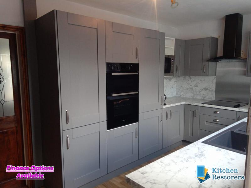 Image 17 - Traditional Kitchen Fitted as a refurb (New Doors, Worktops/Splashback but keeping the majority of the old units)Door Colour: Dust Grey Shaker VinylWorktop/Splashback: Laminate Calacatta Marble