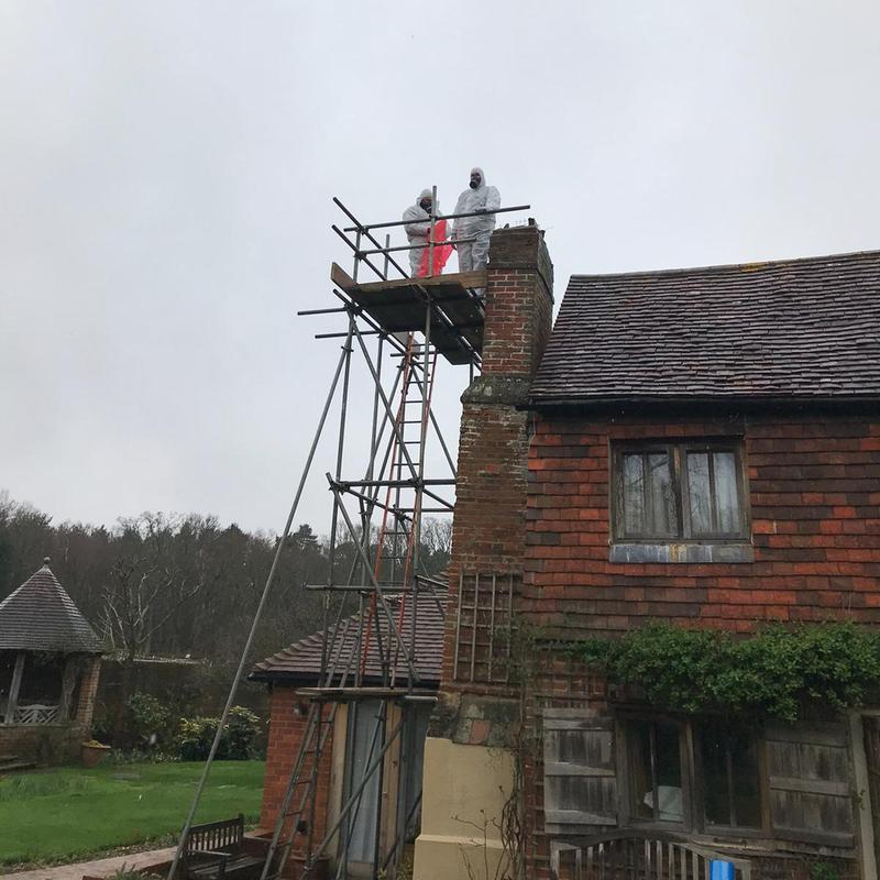 Image 14 - All types of asbestos remediation work is undertaken. On this job we successfully removed a cement flu flue from a chimney of a 17th century cottage