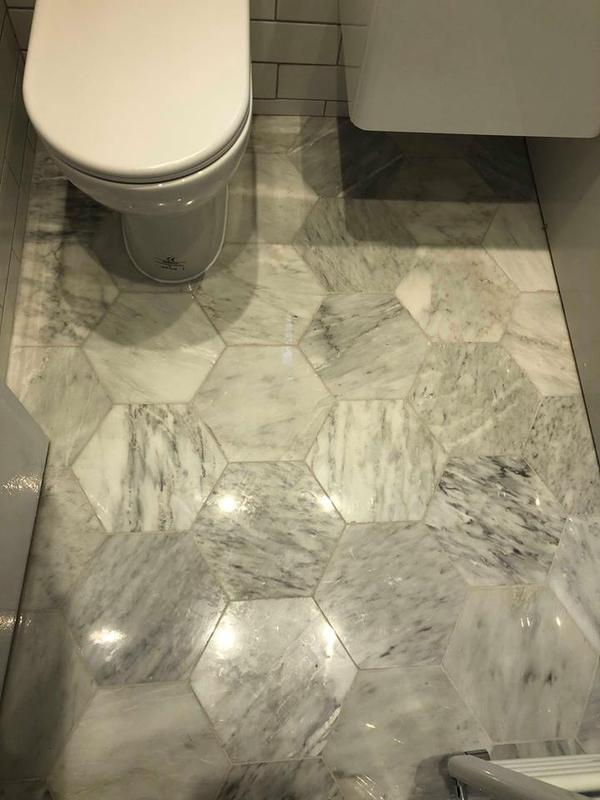 Image 21 - High gloss hexagon marble tiles. Adding something special to this small bathroom