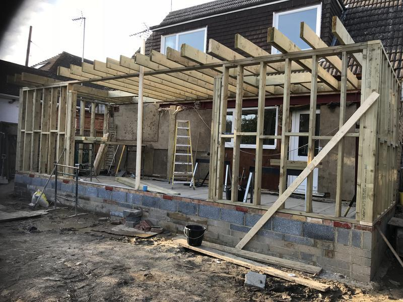 Image 63 - Here's the timber frame going in which sits on top of the brickwork.