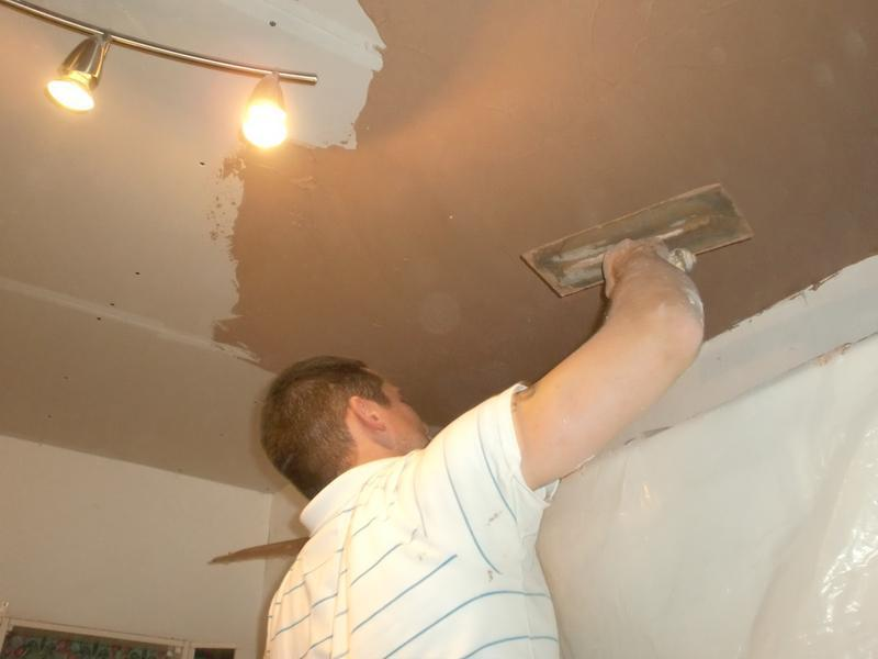 Image 17 - damaged ceiling then plastered.