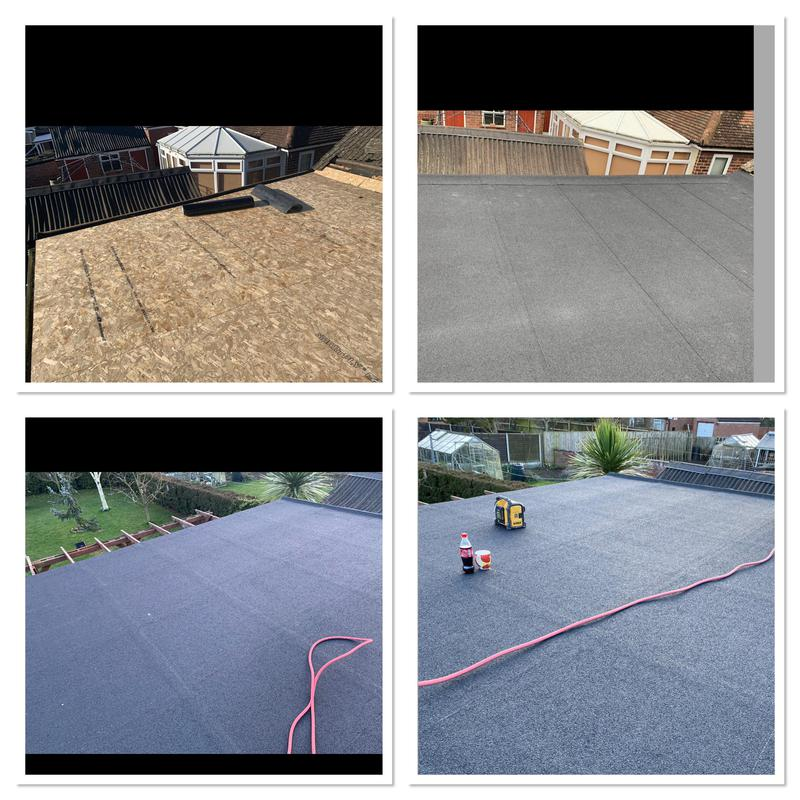 Image 33 - Flat roof replacement, including new OSB boards & three layer felt system fitted.