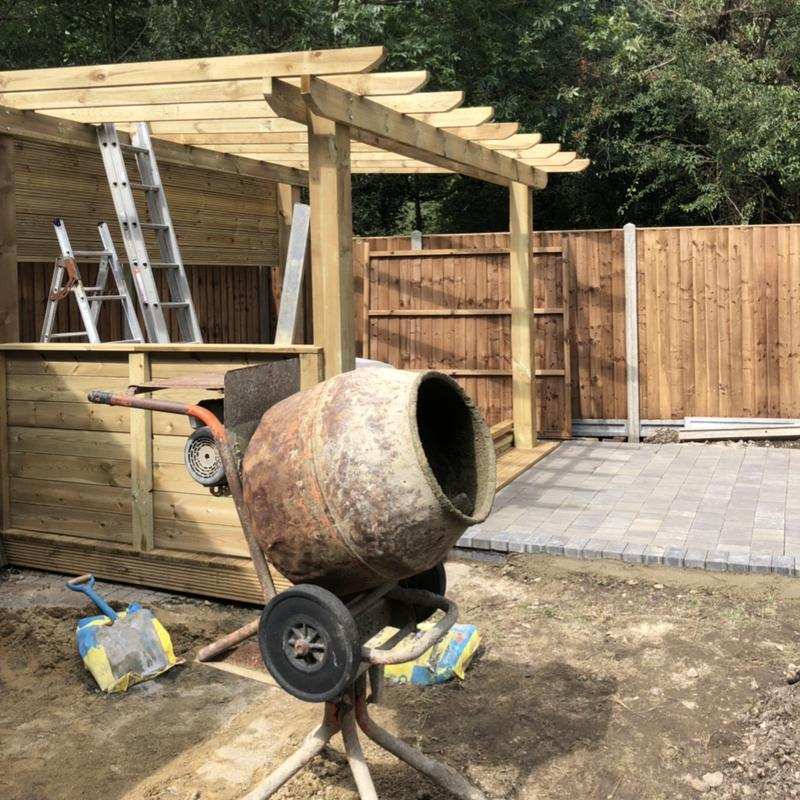 Image 37 - In the process of building the covered pergola, deck and patio
