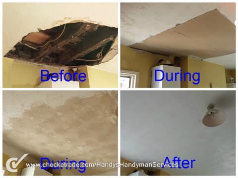 Image 113 - Repair of collapsed artex ceiling including redecorating.