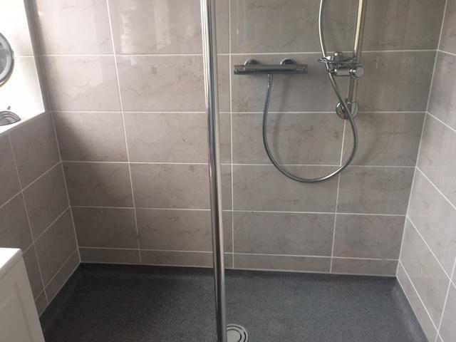 Image 1 - Wet floor shower room, thermostatic mixer shower, full height glass panel with chrome finish, anti slip flooring.
