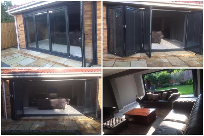 Image 26 - 4 section Bi Folding doors - anthracite grey