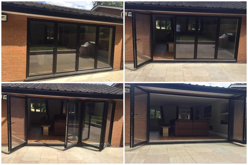 Image 27 - 4 section Bi Folding doors - schwarzbraun black