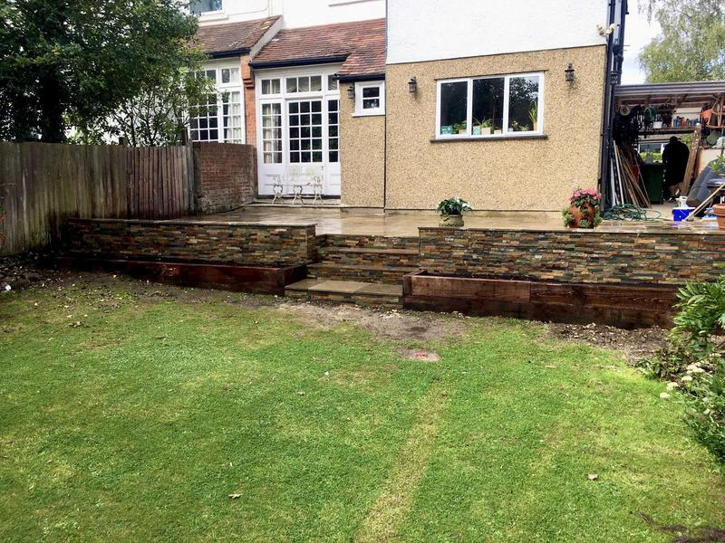 Image 6 - Indian Sandstone Buff Multi - Stoneface Drystack Walling in Copper Slate - Steps and Sleeper Flower Beds