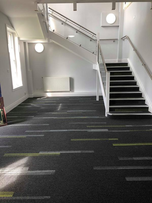 Image 9 - Contemporary carpet tile design throughout these School corridors and stairs to include bespoke nosings for safety purposes and wear and tear protection