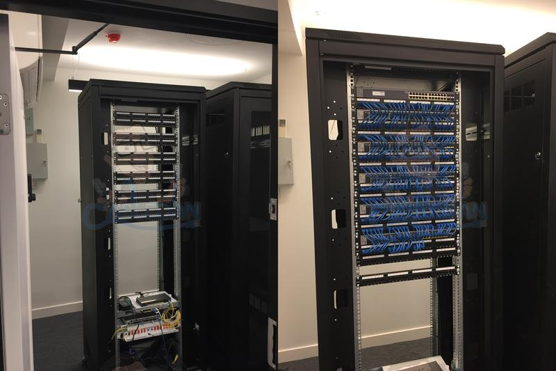 Image 26 - 480 Excel Cat 6 Data points installed in 42u Data Cabinets in Accountants Office in London Before and after picture