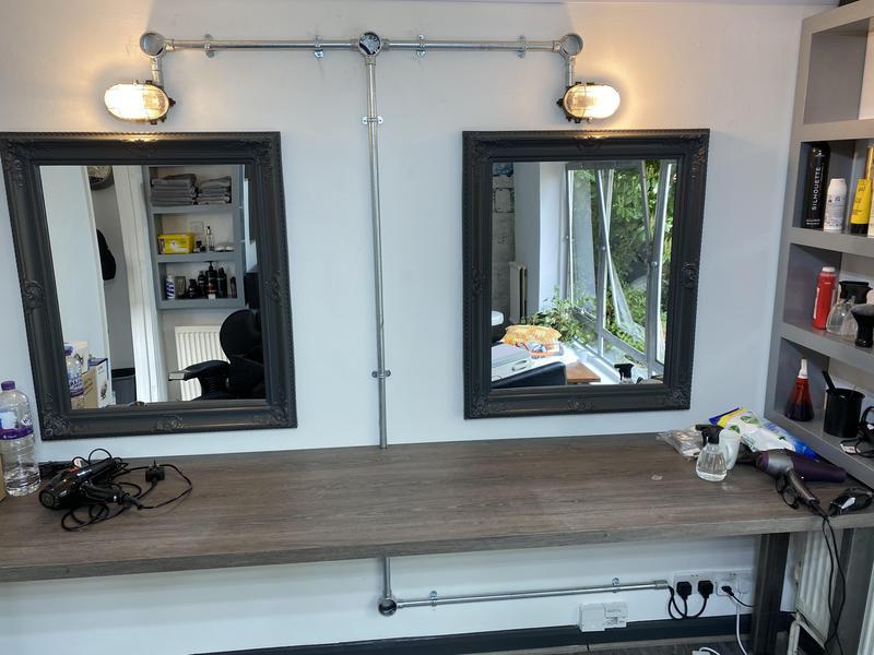 Image 1 - Hair salon mirror, flooring, worktop and custom lighting installation