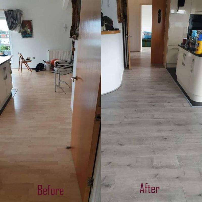 Image 2 - Out with the old, in with a more suitable colour on this kitchen laminate flooring project. Before & after + progress pics. Take a look at our laminate range online