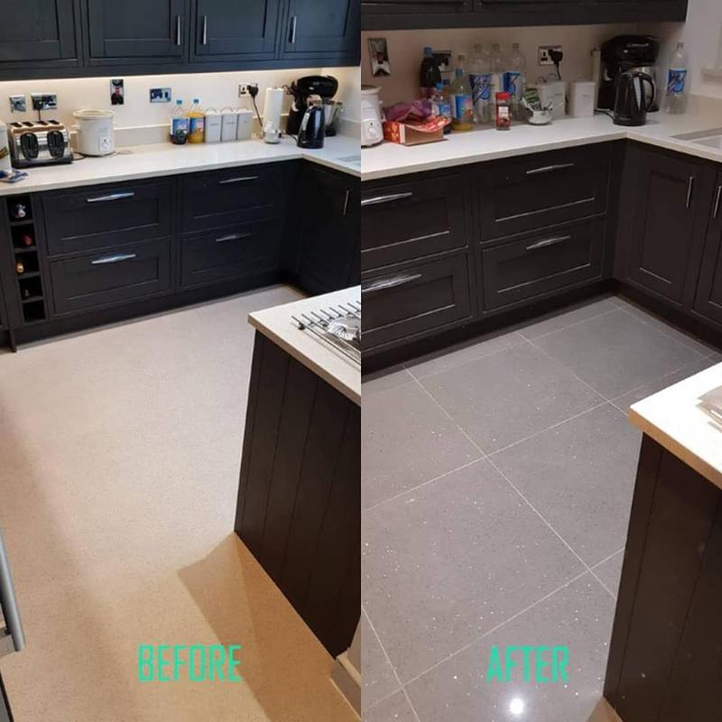 Image 1 - Tiling throughout this downstairs kitchen and diner. A quick glimpse of the kitchen before and after.