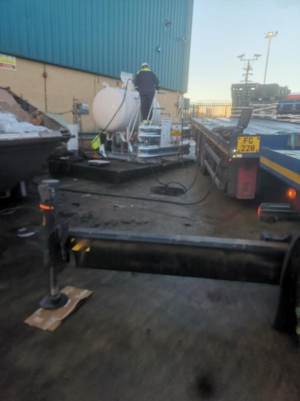 Image 20 - Industrial work installing a gas tank for fork lift trucks in Tilbury docks