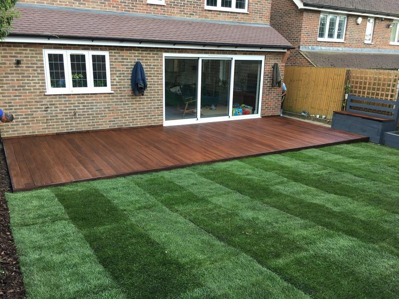 Image 49 - Turfing and hardwood decking