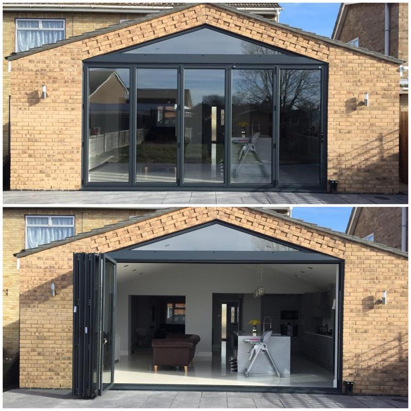 Image 14 - 5 section BiFolding doors with apex window - anthracite grey