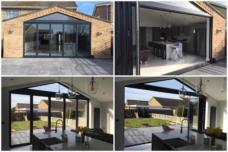 Image 41 - 5 section BiFolding doors with apex window - anthracite grey
