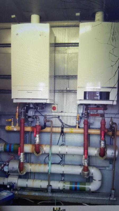 Image 20 - 1this was a finished install of a Worcester gb162 65 kw boiler on the left of the picture is fitted to a low loss header with reverse return at a swimming pool for a school in Derby just ready to put lagging on