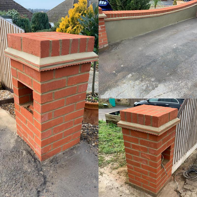 Image 9 - Brick piers built and sand a cement render