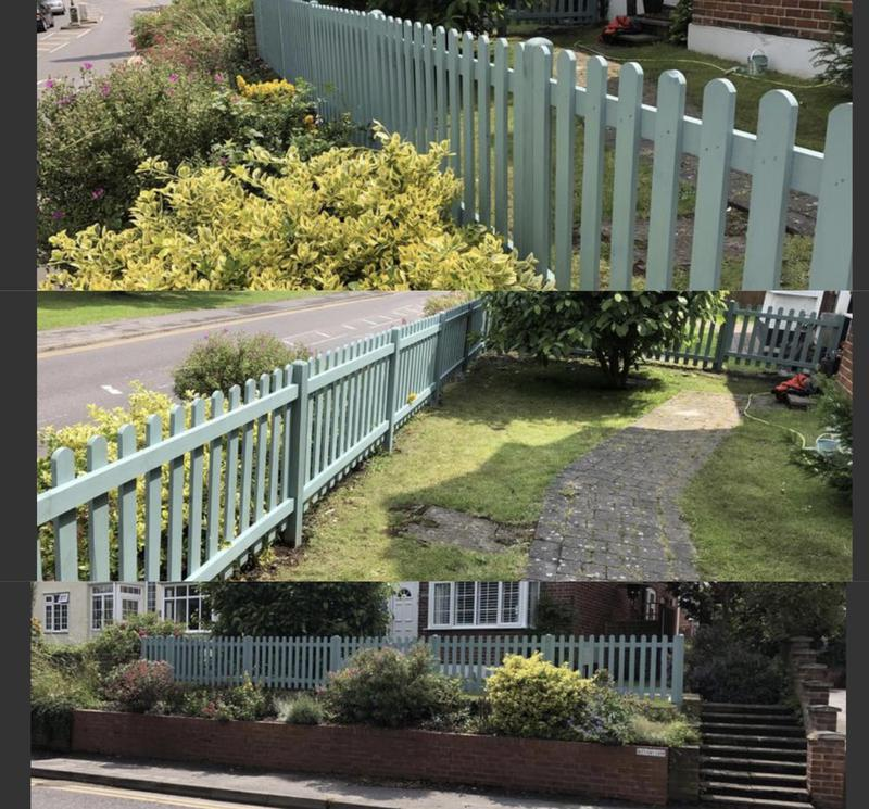 Image 29 - 17- New picket fencing coated in ronseal sky
