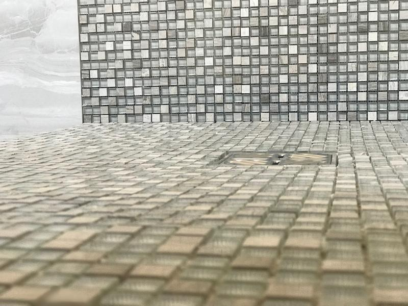 Image 15 - Walk in shower with mosaic tiling