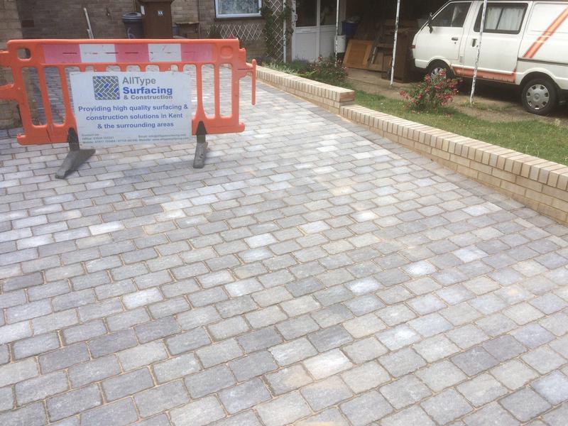 "Image 6 - Block paved driveway along with 9"" retaining brick wall"