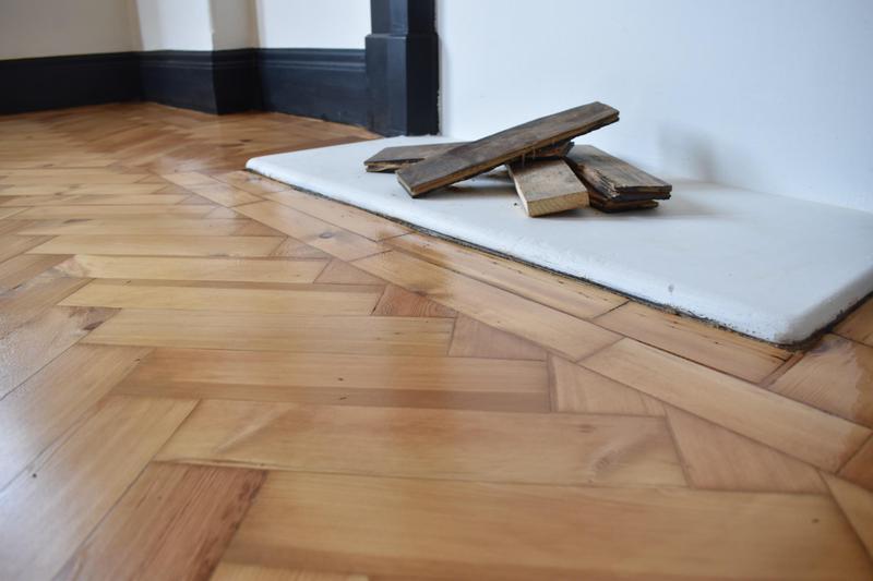 Image 13 - Pine herringbone floor restored