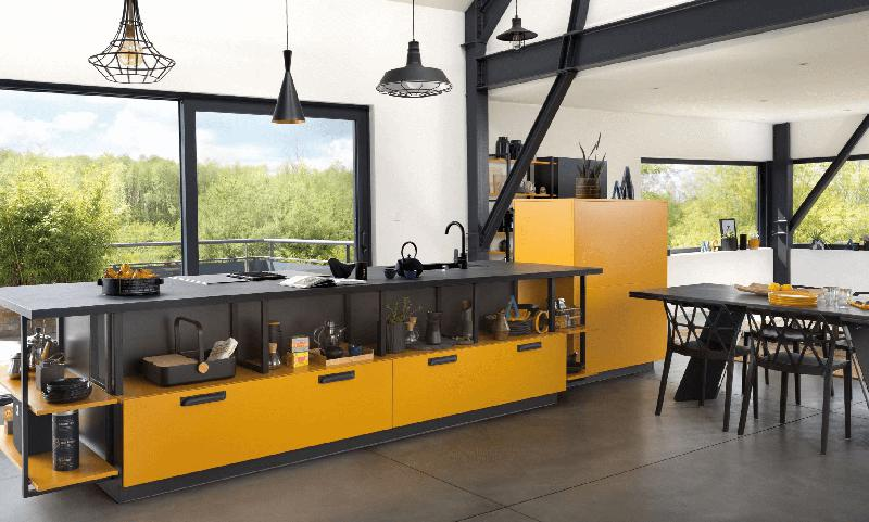 Image 48 - My Favourite Curry Yellow and Matt Black Melamine Faced Chipboard and ABS Edging.