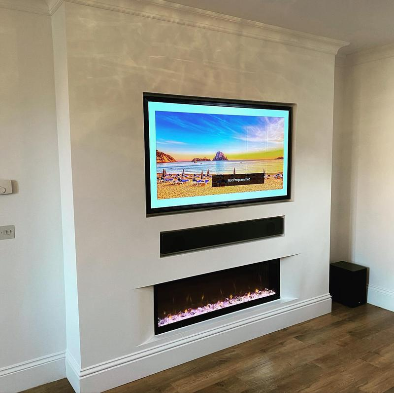 Image 8 - We built this custom made media wall allowing for a flush fit flat screen tv, Bose sound bar, and added a curved feature for the fireplace.