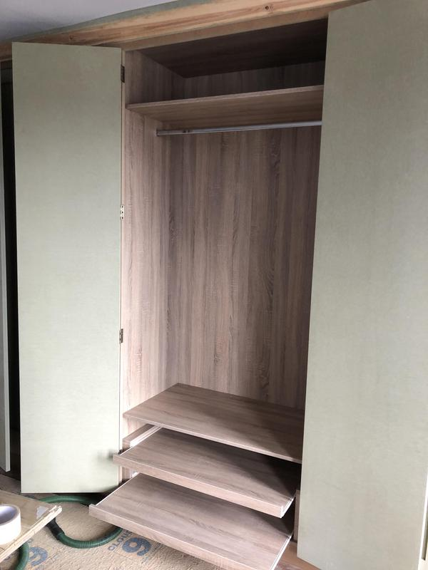 Image 5 - Grey oak wardrobe interior with hanging space and pull out shoe shelf