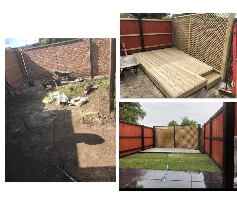 Image 18 - 29- Garden refurb , decking fencing and slate slabs with some turfing