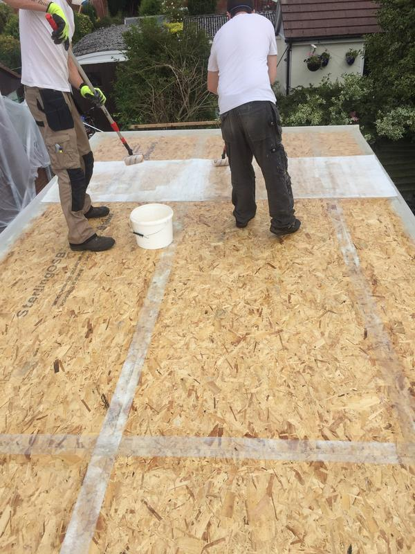Image 21 - Lilac Grove, sealing roof joints with fibre glass