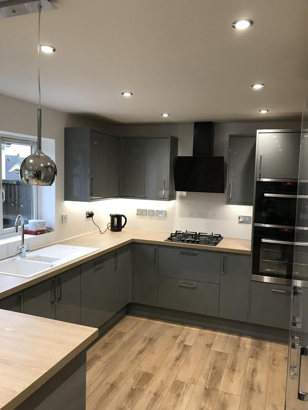 Image 25 - Customer 0092: Kitchen all finished. Works included full re-plaster, plumbing, electrics, new kitchen and flooring to create customers dream room.
