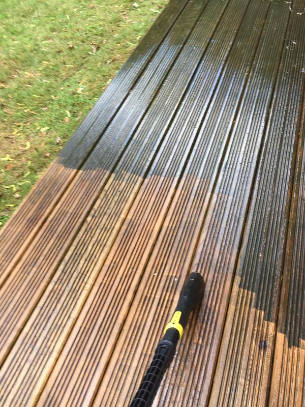 Image 36 - Before painting, jet washed the decking area.