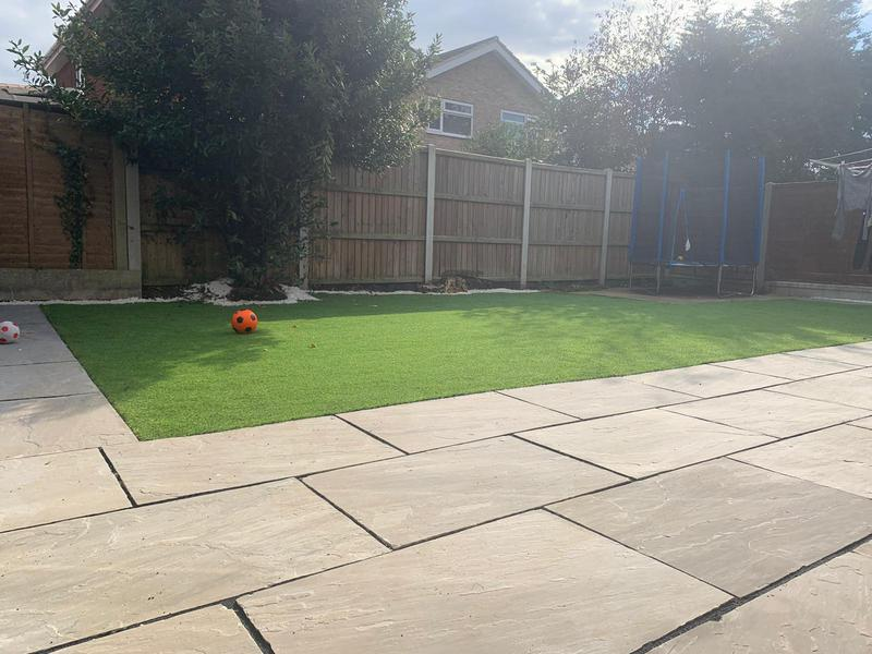 Image 17 - Artificial Grass & Grey Indian Sandstone Paving with white stone finish