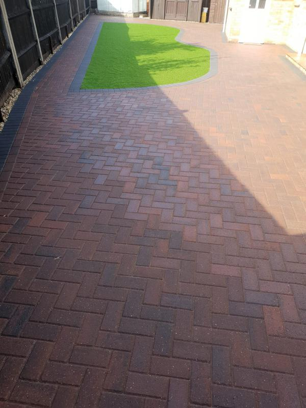 Image 7 - Block paving patio with artificial grass in Farnborough