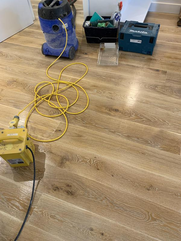 Image 19 - Sanding and painting the floor with oil