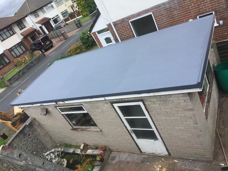 Image 23 - Lilac Grove, top coat on finished fibre glass flat roof.