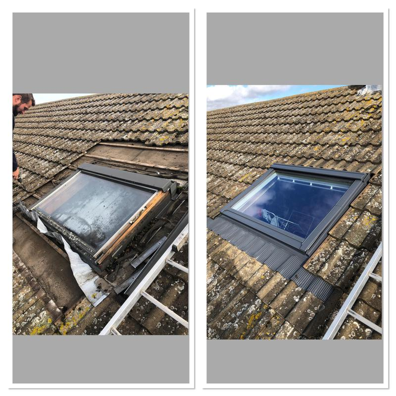 Image 18 - Old leaking velux taken out & replaced with a new velux.