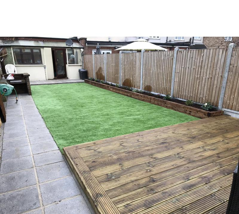 Image 11 - Full garden renovation. Paving pathway, artificial grass, raised flowerbeds, fencing and decking.