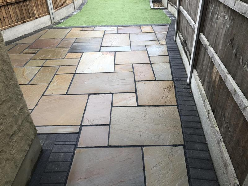 Image 21 - Indian sandstone slab patio with artificial grass