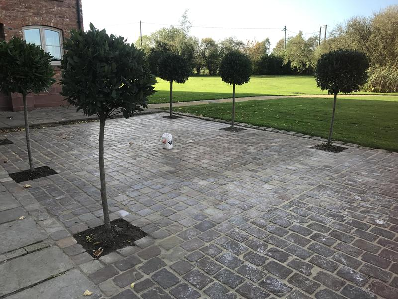 Image 18 - Granite cobbles with beds for the bay trees