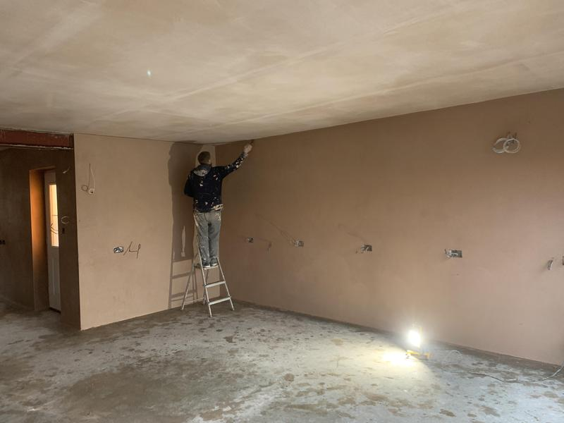 Image 14 - Hardwall backing plaster and Set.Giving this workshop the durability It needs.