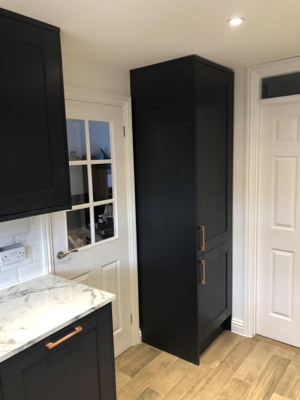 Image 11 - Full kitchen Refurbishment, new floor tiles wood effect new spot lights, metro tiles backsplash